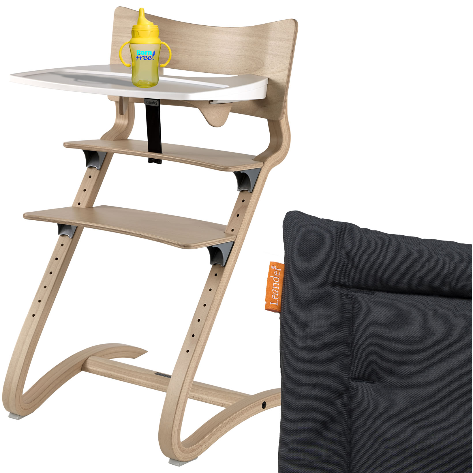 leander hochstuhl natur komplett mit sicherheitsb gel tisch sitzkissen coal ebay. Black Bedroom Furniture Sets. Home Design Ideas