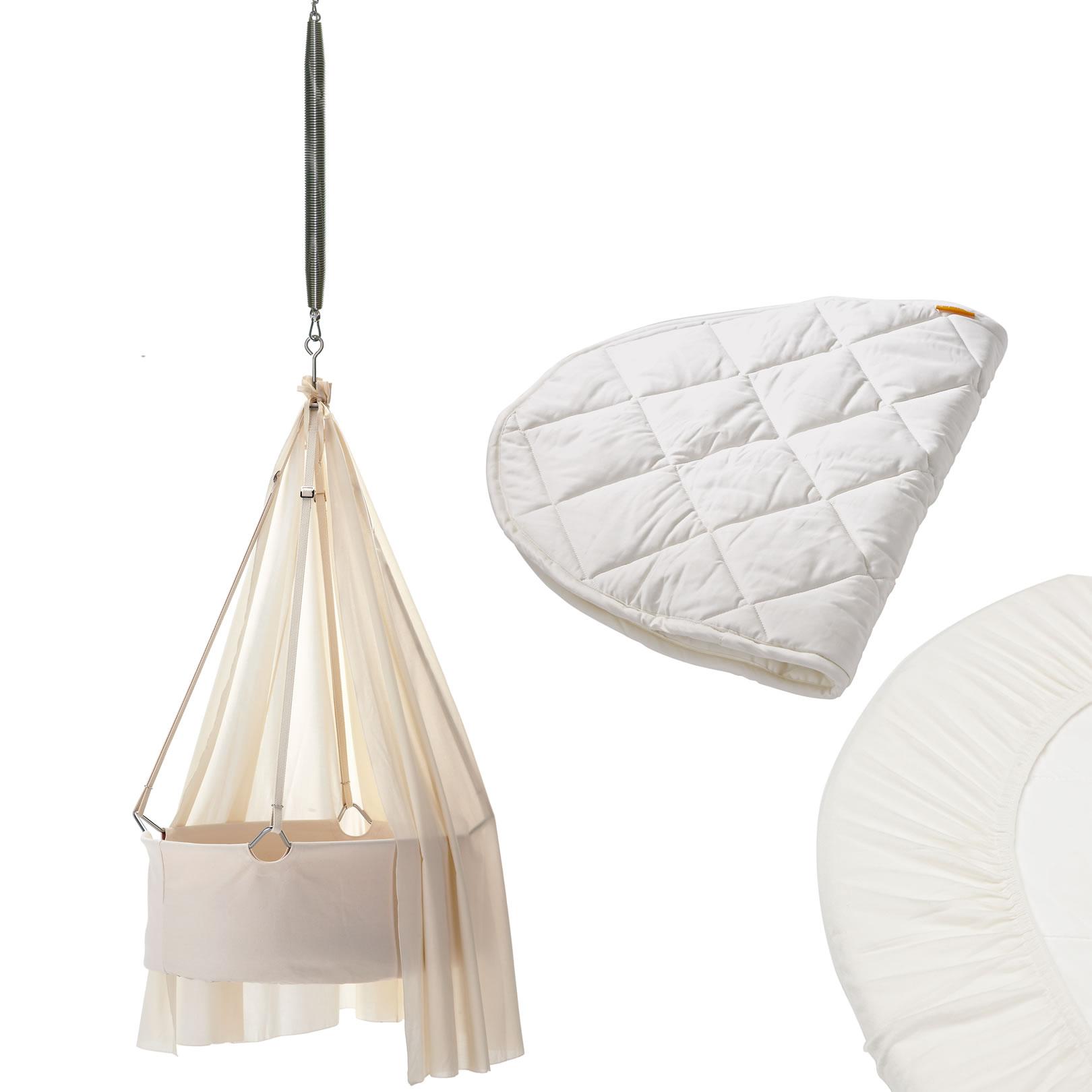 leander wiege set mit schlummerli feder himmel. Black Bedroom Furniture Sets. Home Design Ideas