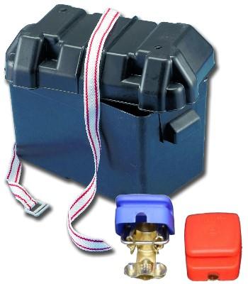 Batteriebox Behälter Batteriekasten inkl. 1 Paar Batterieschnellklemmen Neu