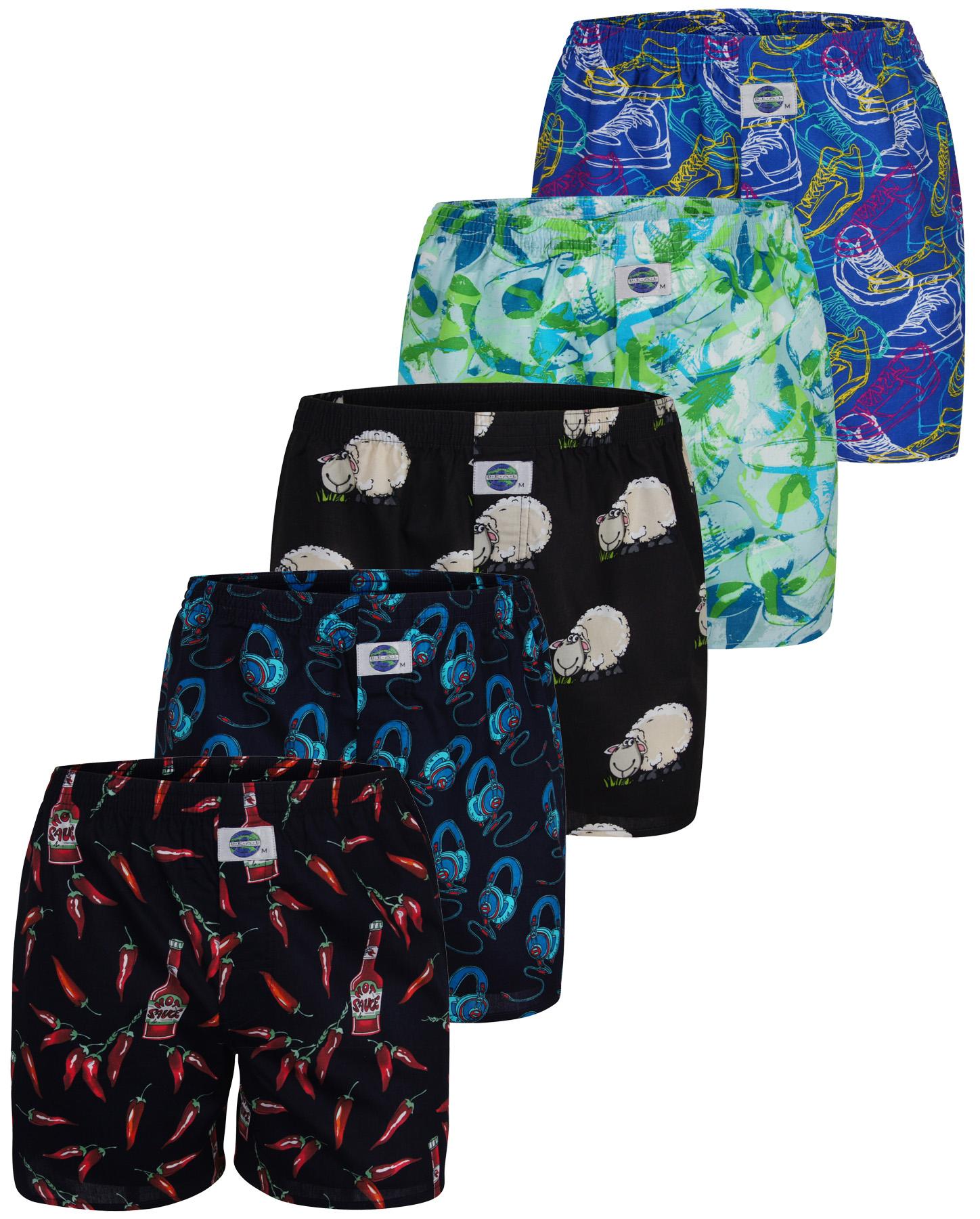 deal 5 pack herren boxershorts mit motiven mehrfarbig s. Black Bedroom Furniture Sets. Home Design Ideas