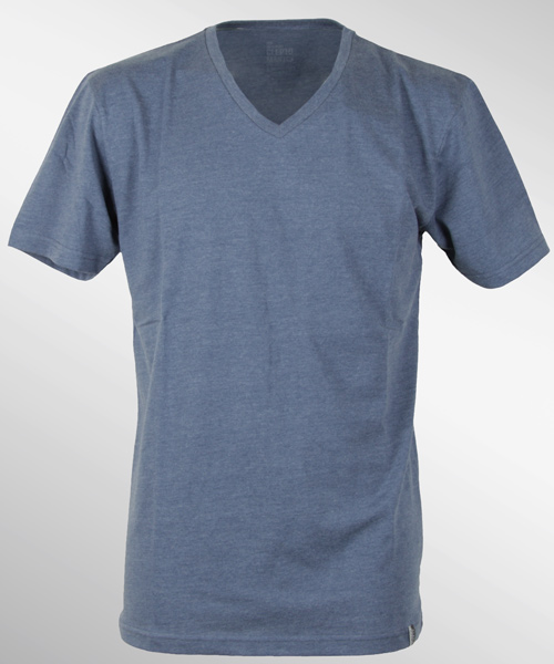 Cleptomanicx-Icon-V-Neck-T-Shirt-Heather-Blue-NEU