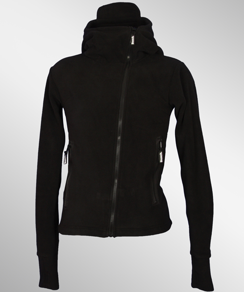 Bench-Ninja-Assymetric-Zip-Jacke-Fleecejacke-schwarz-Black-NEU