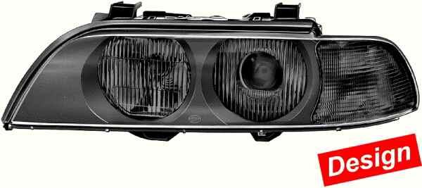 hella scheinwerfer set xenon schwarz bmw e39 vfl ebay. Black Bedroom Furniture Sets. Home Design Ideas