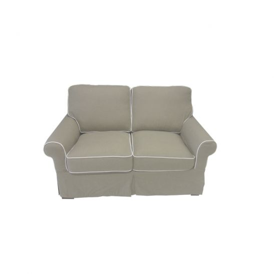 schlafsofa landhausstil er sofa in beige stoff mit matratze 90x200 cm ebay. Black Bedroom Furniture Sets. Home Design Ideas