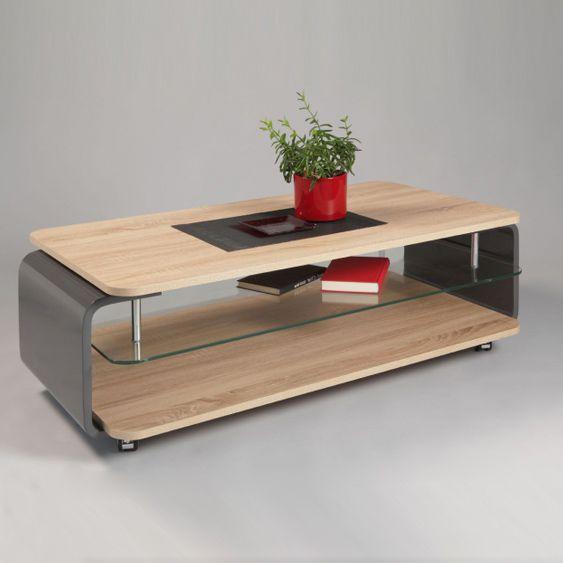 ren couchtisch sonoma eiche hell mit grau hochglanz lackiert ebay. Black Bedroom Furniture Sets. Home Design Ideas