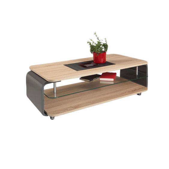 ren couchtisch sonoma eiche hell mit grau hochglanz lackiert. Black Bedroom Furniture Sets. Home Design Ideas