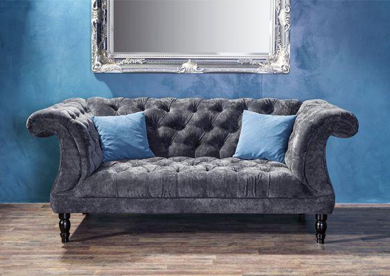 Chesterfield 2 Sitzer Sofa Samtvelours Couchgarnitur Ebay