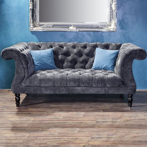 chesterfield 2 sitzer sofa samtvelours couchgarnitur ebay. Black Bedroom Furniture Sets. Home Design Ideas
