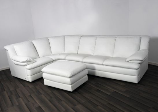 natuzzi b643 ecksofa leder wei 08 ebay. Black Bedroom Furniture Sets. Home Design Ideas