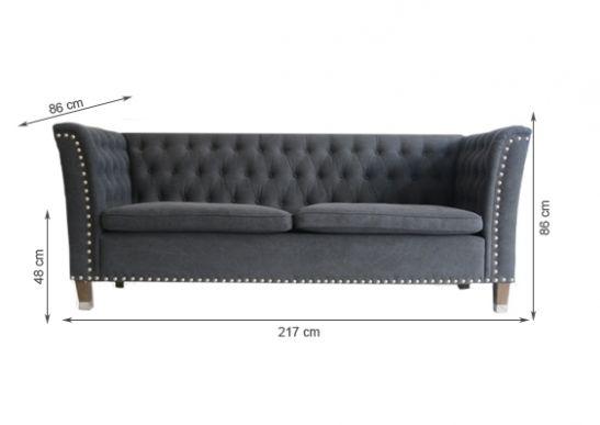 Einzelst Ck Chesterfield Design Zoen Sofa 3 Er Stoff In Grau Ebay