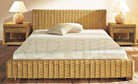 rattanbett rattan bett gestell 140 x 200 in tabak ebay. Black Bedroom Furniture Sets. Home Design Ideas