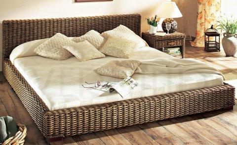 rattanbett rattan bett gestell 140 x 200 in tabak ebay. Black Bedroom Furniture Sets. Home Design Ideas