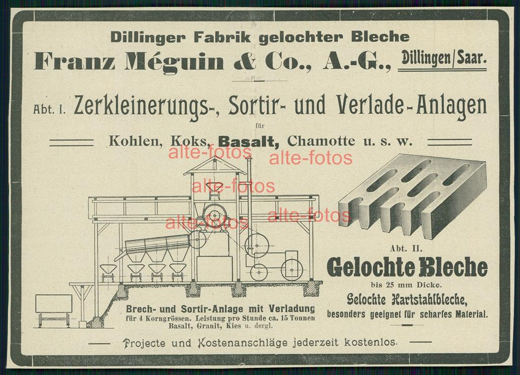 reklame von 1903 dillinger fabrik franz meguin co gelochte bleche ebay. Black Bedroom Furniture Sets. Home Design Ideas
