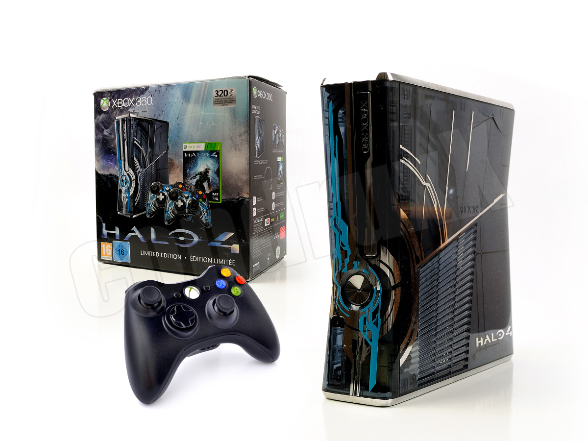 microsoft xbox 360 konsole slim halo 4 kinect ready. Black Bedroom Furniture Sets. Home Design Ideas