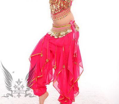 Bauchtanz Kostüm Tribal Fusion Belly Dance Hose Gold Chiffon Mehere Farbe