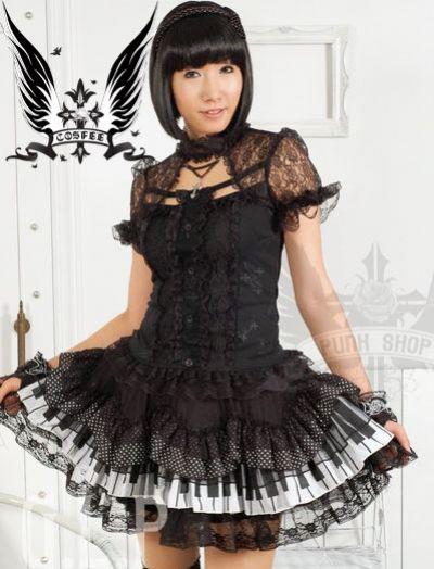 glp minirock gothic lolita rock schwarz weiss klavier ebay. Black Bedroom Furniture Sets. Home Design Ideas