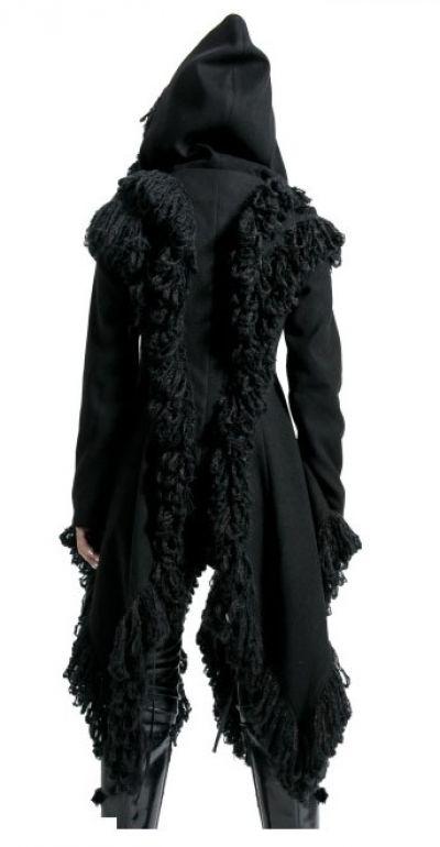 gothic punk rave damen jacke mantel mit kapuze manteau abrigo coat schwarz ebay. Black Bedroom Furniture Sets. Home Design Ideas