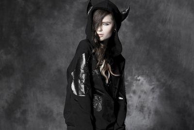 Punk Rave Visual Kei Monster Schwarz Kuhmuster mit Kapuze Style Cosplay