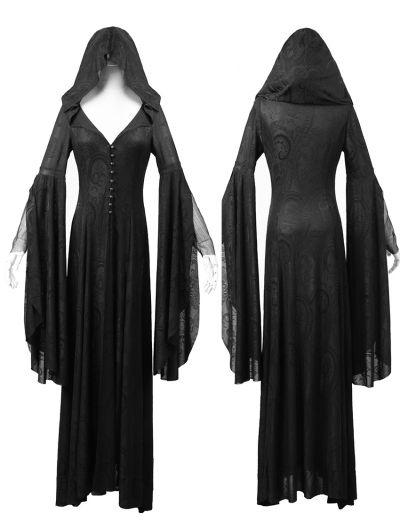 Gothic kleid schwarz lang kleider rock mit kaputzer for Rockabilly kleid lang