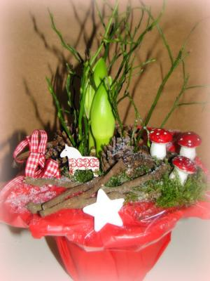 amaryllis im topf rot wei zauberhaft dekoriert. Black Bedroom Furniture Sets. Home Design Ideas
