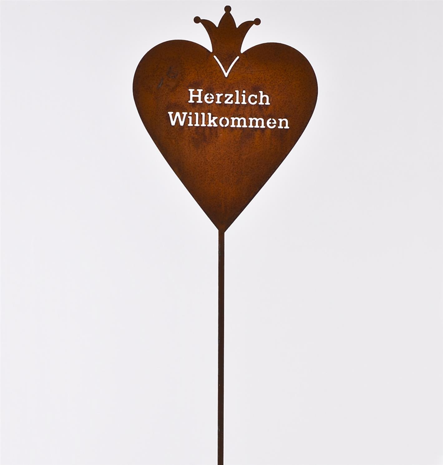 Gartenstecker herz willkommen metall edelrost 100cm for Gartenstecker metall