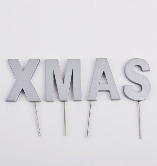 Deko buchstaben stecker xmas holz 5 9cm silber weihnachten for Dekostecker weihnachten