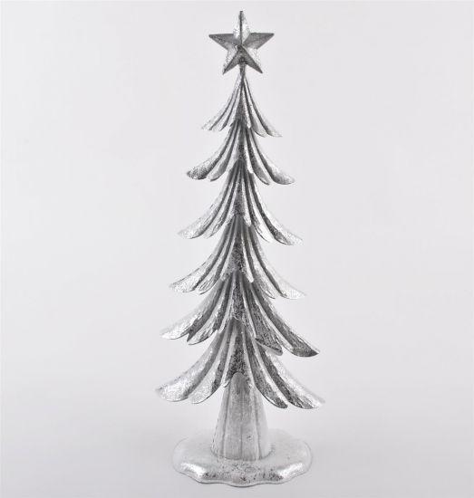 weihnachtsbaum deko objekt metall 60x22x12cm silber xmas. Black Bedroom Furniture Sets. Home Design Ideas
