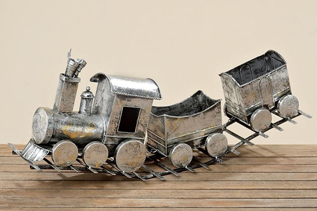 Deko zug aus metall auf gleisbett ebay Deko aus metall