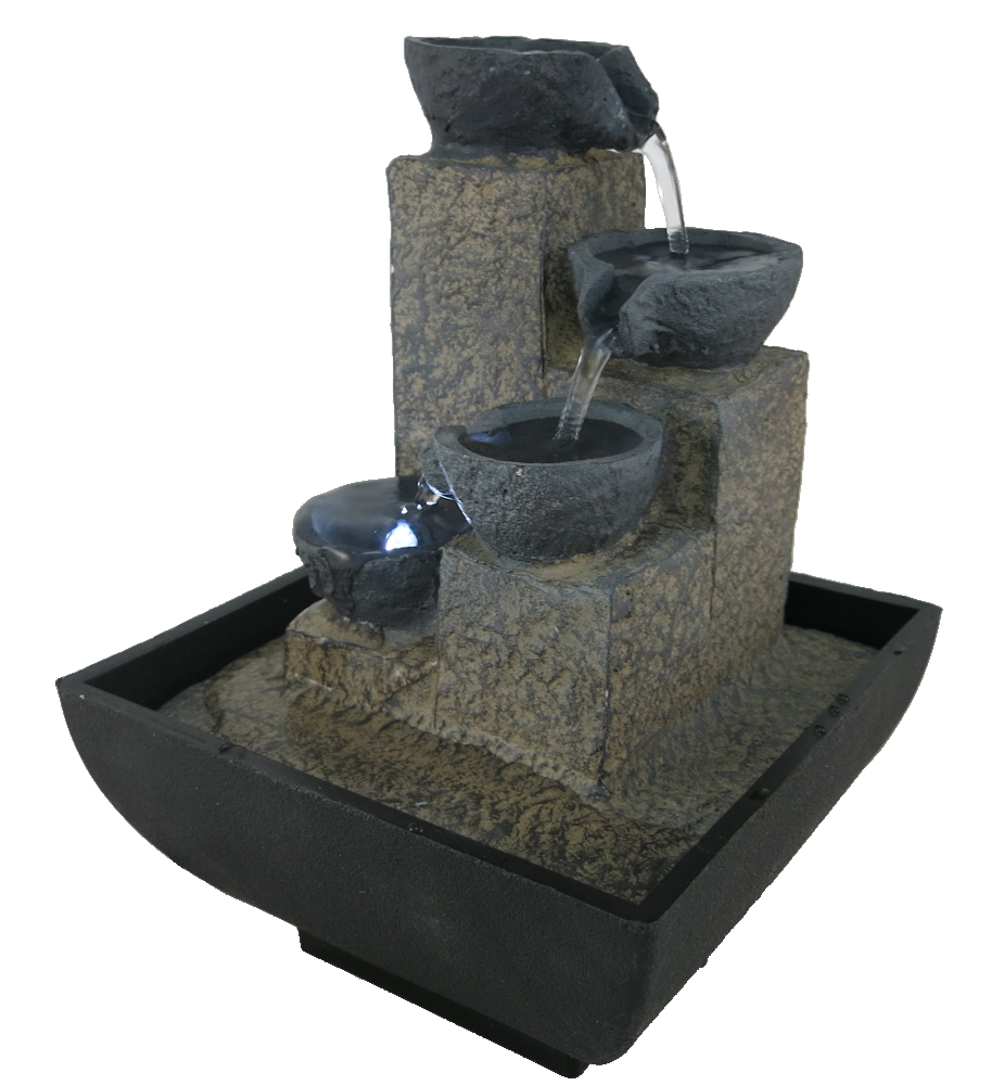 zimmerbrunnen mit pumpe und led schalen 17cm minibrunnen tischbrunnen ebay. Black Bedroom Furniture Sets. Home Design Ideas