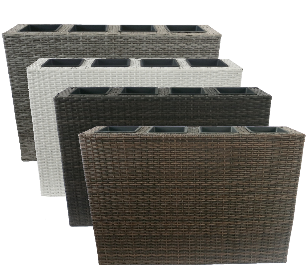 pflanzkasten korb in rattan optik inkl 4 eins tze. Black Bedroom Furniture Sets. Home Design Ideas