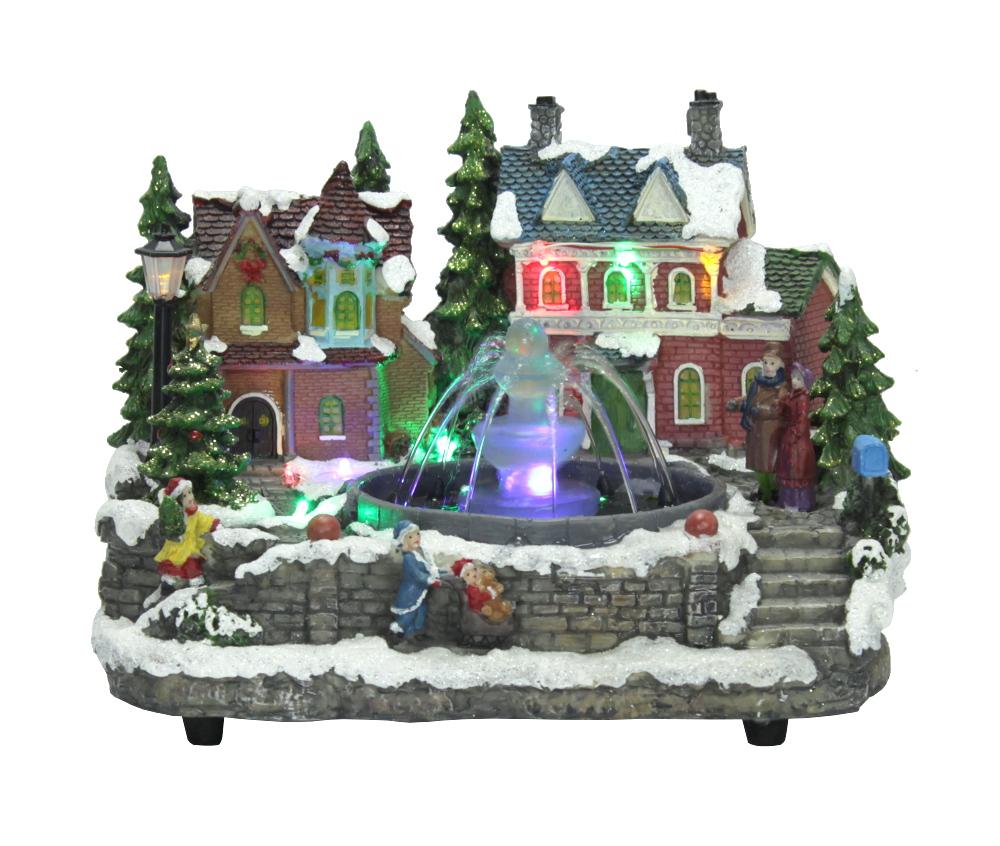 weihnachtslandschaft mit brunnen led 39 s und musik winterlandschaft winterdorf ebay. Black Bedroom Furniture Sets. Home Design Ideas