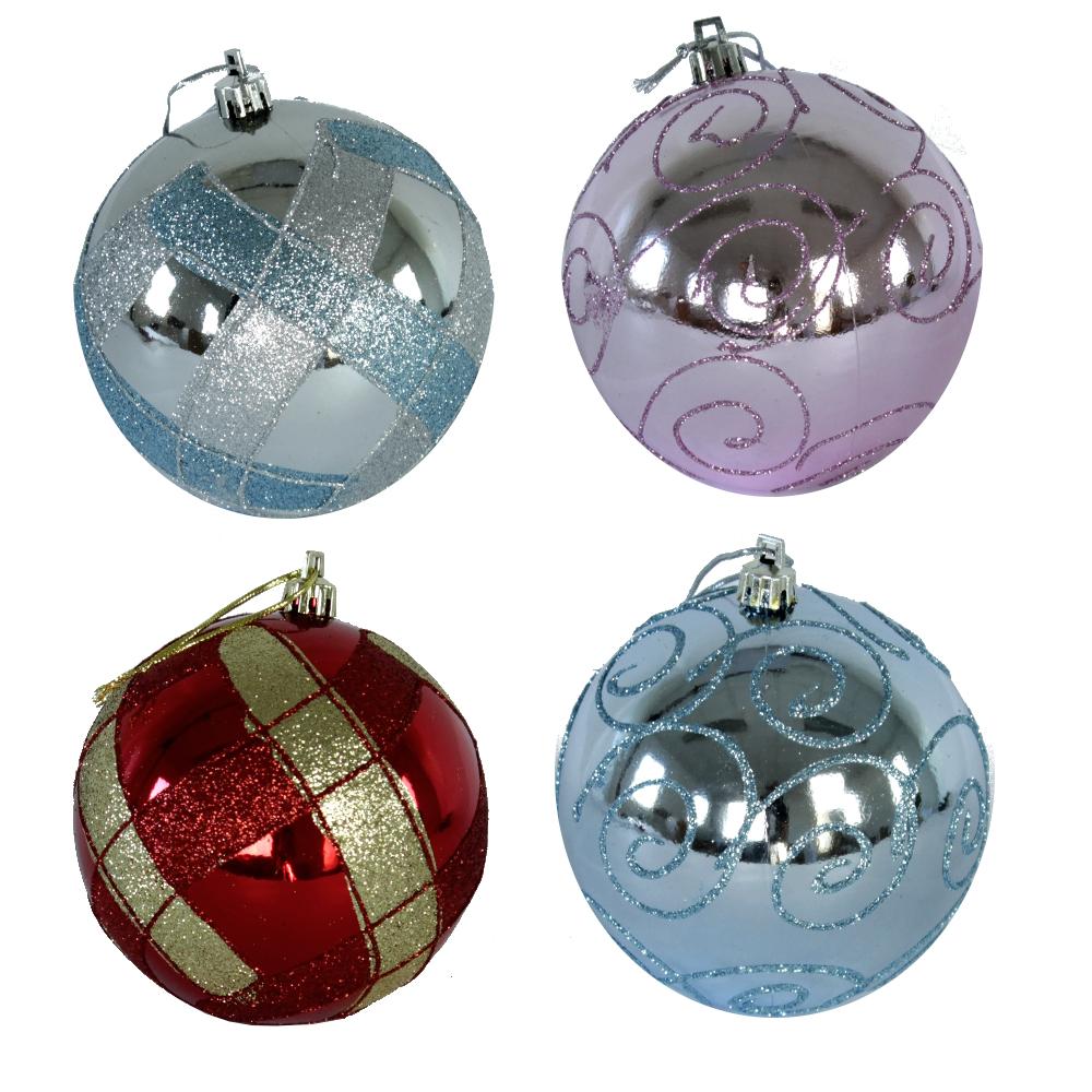 kunststoff weihnachtskugeln 5 st ck 10cm verschiedene farben christmaskugeln ebay. Black Bedroom Furniture Sets. Home Design Ideas
