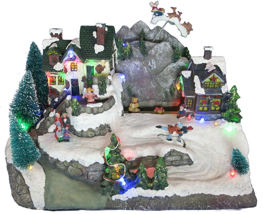 weihnachtslandschaft mit led und bewegung schlittschuhpaar winterlandschaft ebay. Black Bedroom Furniture Sets. Home Design Ideas