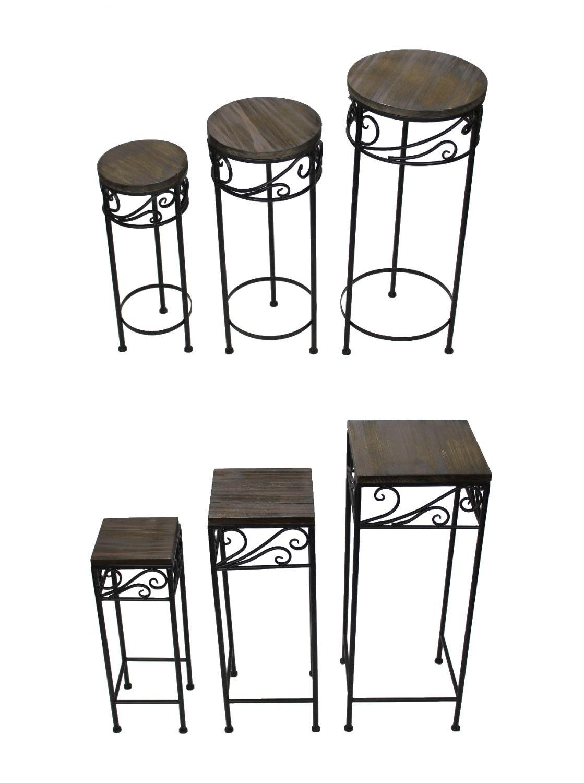 blumenhocker 3er set pflanzhocker beistelltisch balkontisch blumentisch ebay. Black Bedroom Furniture Sets. Home Design Ideas