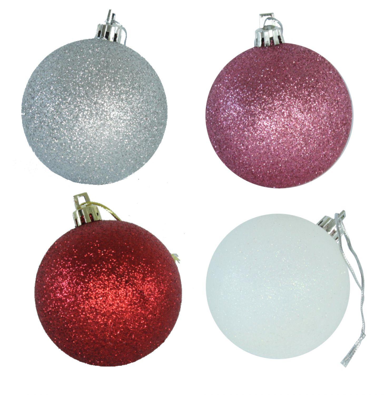 kunststoff weihnachtskugeln 4 st ck 7cm verschiedene farben christmaskugel. Black Bedroom Furniture Sets. Home Design Ideas