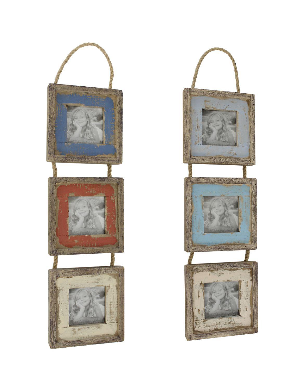 Holz-Hänger Bilderrahmen für 3 Bilder - Shabby Chic Vintage ...