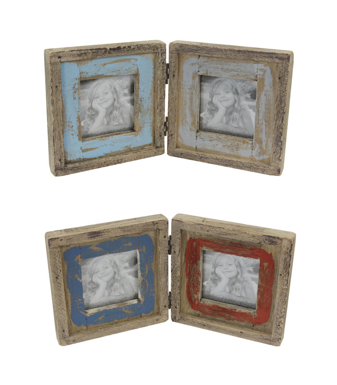 Holz Bilderrahmen für 2 Bilder - Fotorahmen shabby chic vontage   eBay