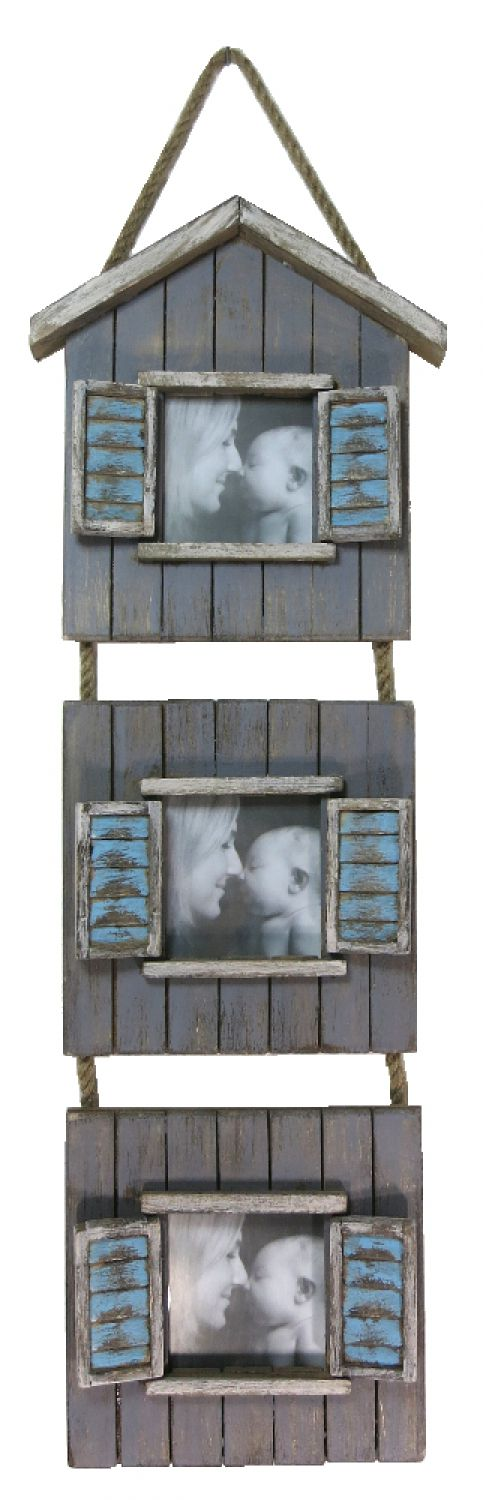 holz bilderrahmen collage shabby 18cm x 64cm wei blau ebay. Black Bedroom Furniture Sets. Home Design Ideas