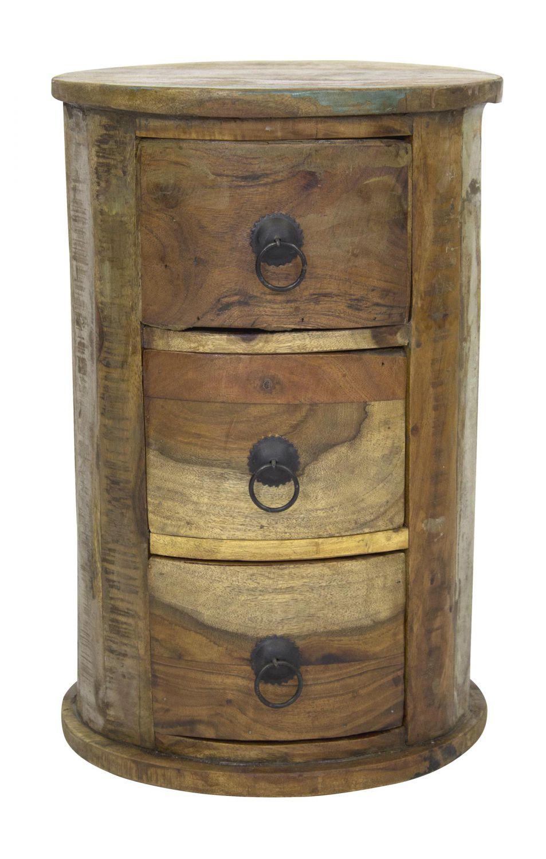 Schubladen-Schrank rund 46cm aus recyceltem Holz - Beistelltisch ...