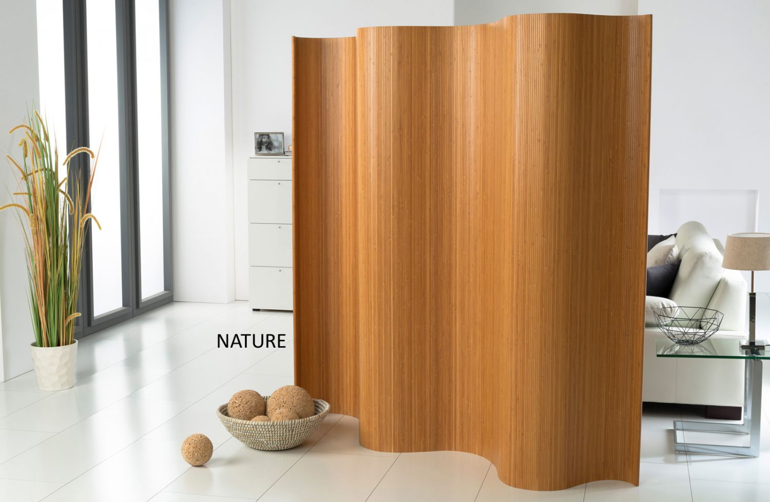 Double sided paravent a bamboo pure partition divider - Faltwand raumteiler ...