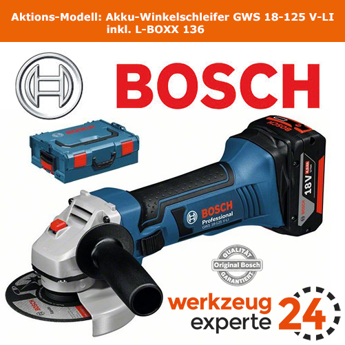 bosch akku winkelschleifer gws 18 125 v li solo version l boxx ebay. Black Bedroom Furniture Sets. Home Design Ideas