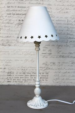 tischlampe metall wei shabby lampe tischleuchte nachttischlampe shabby antik. Black Bedroom Furniture Sets. Home Design Ideas