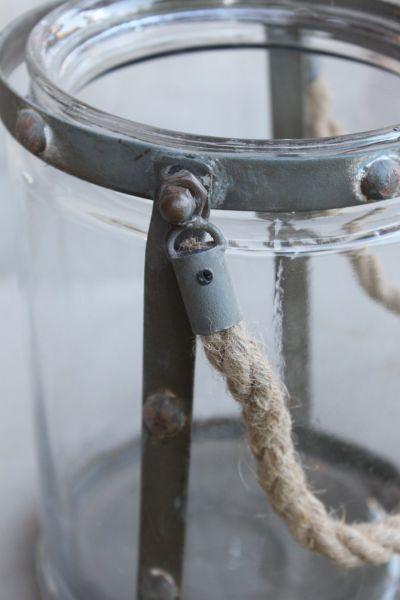 Windlicht gro laterne glas seil kerzenglas shabby for Windlicht laterne gross