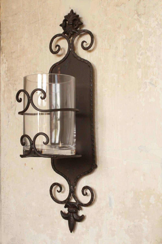 glas metall kerzen wand kerzenhalter shabby kerzenleuchter vintage landhaus ebay. Black Bedroom Furniture Sets. Home Design Ideas