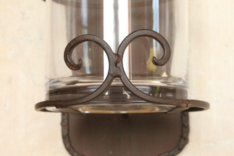 Glas Metall Kerzen Wand Kerzenhalter Shabby Kerzenleuchter