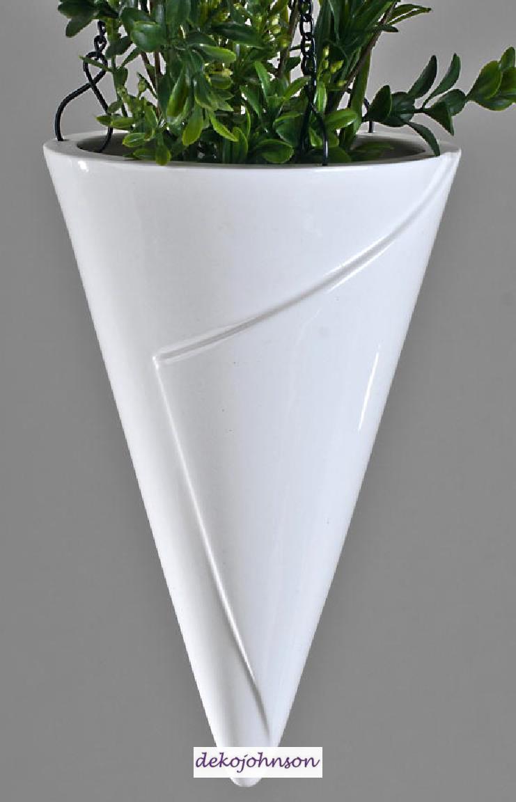 Edle blumenampel als h ngevase in moderner form wei 23 cm for Edle dekoartikel