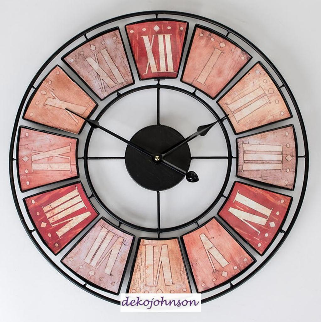 formano wanduhr rund 45cm in metall creme rot nostalgisch. Black Bedroom Furniture Sets. Home Design Ideas