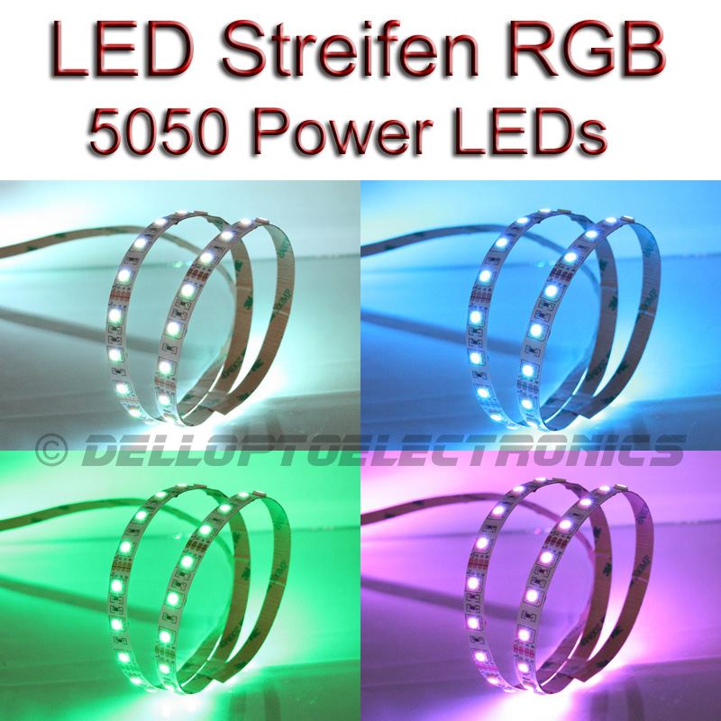 led stripe streifen rgb mehrfarbig bunt mit 60x 5050leds m ebay. Black Bedroom Furniture Sets. Home Design Ideas