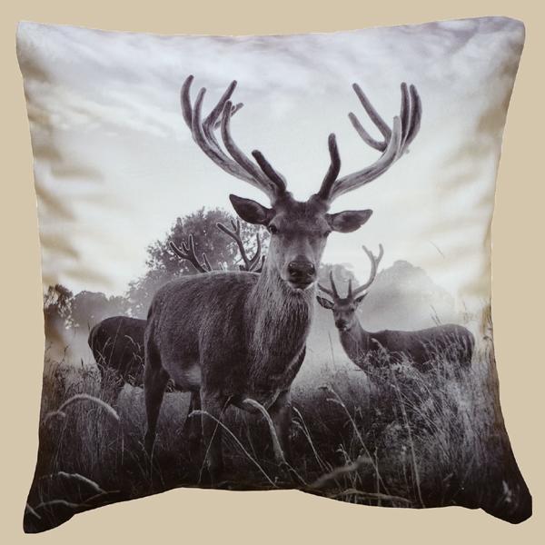 kissenh lle 40 x 40 cm kissenh lle fotodruck schwarz wei 39 39 hirsch 39 39 ebay. Black Bedroom Furniture Sets. Home Design Ideas