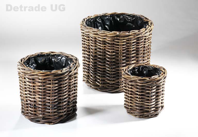 bertopf aus rattan rund krabu 3er set blumenk bel. Black Bedroom Furniture Sets. Home Design Ideas